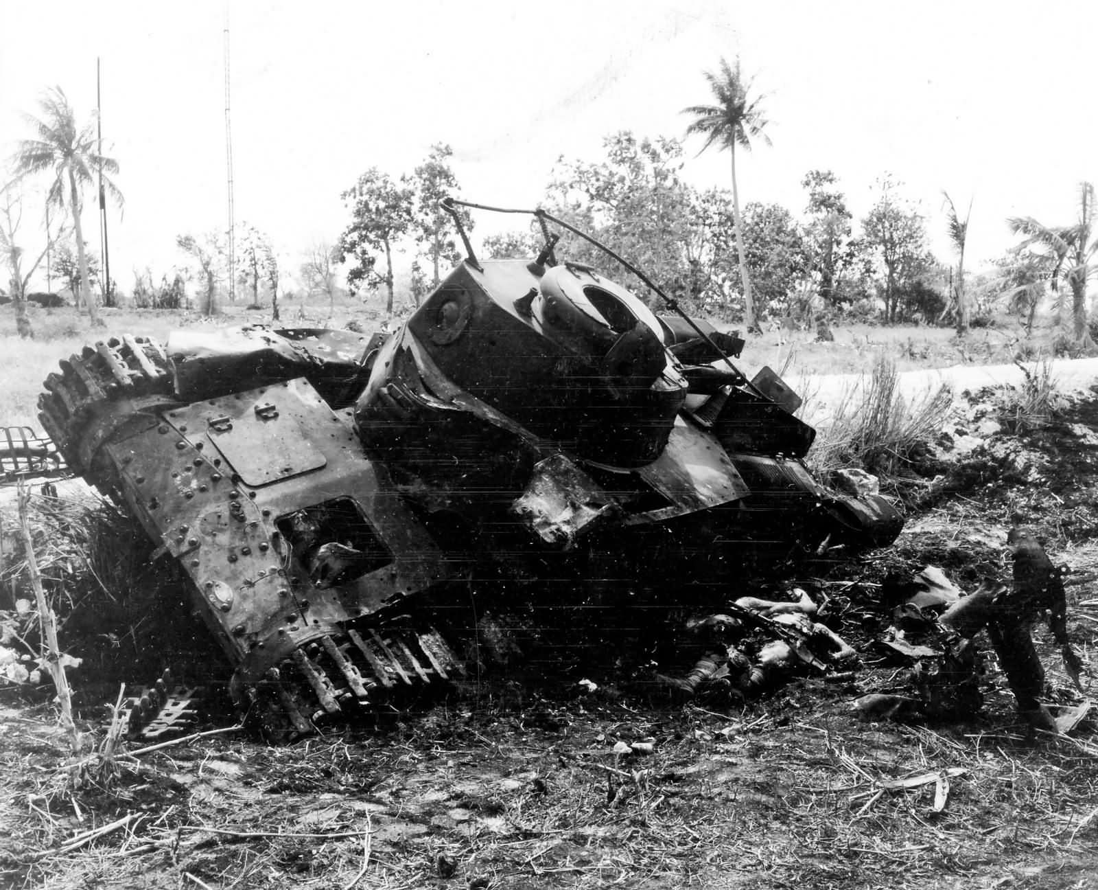 Japanese Type 97 Chi Ha Tank Destroyed Saipan June 1944