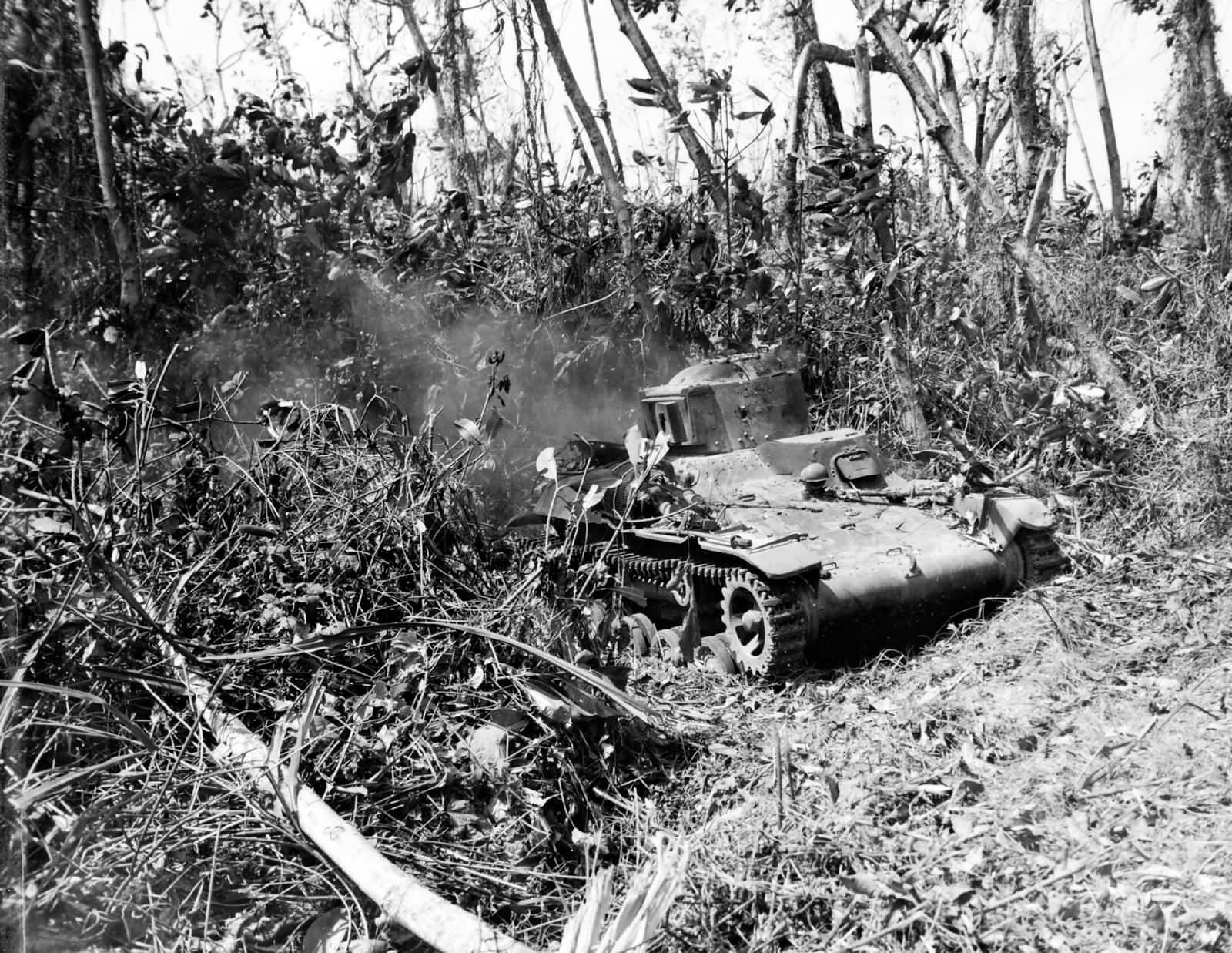 Japanese Type 97 Te Ke tankette destroyed by 4th Marine Division Kwajalein 1944
