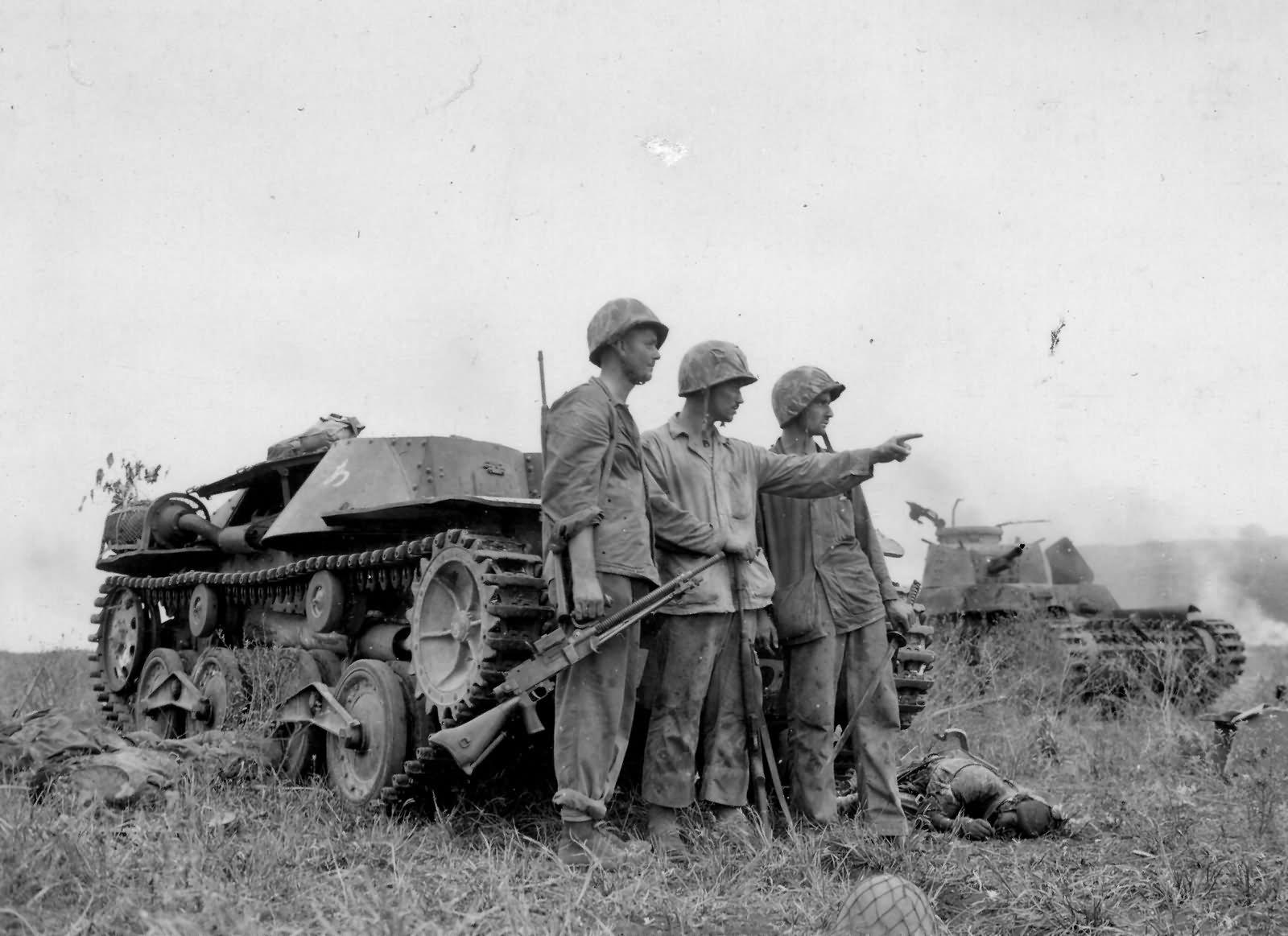 Japanese Type 97 and Type 95 tanks and marines Saipan