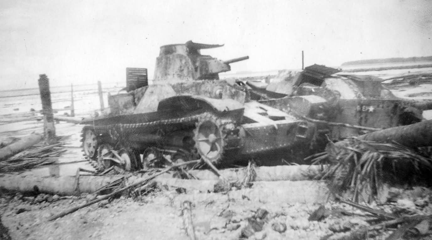 Knocked Out Japanese Tank Wreck on Beach Type 95 Ha-Go