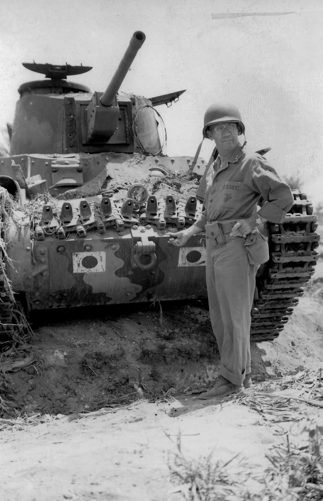 Marine General Thomas Watson and Japanese Type 95 Ha Go Tank Saipan 1944