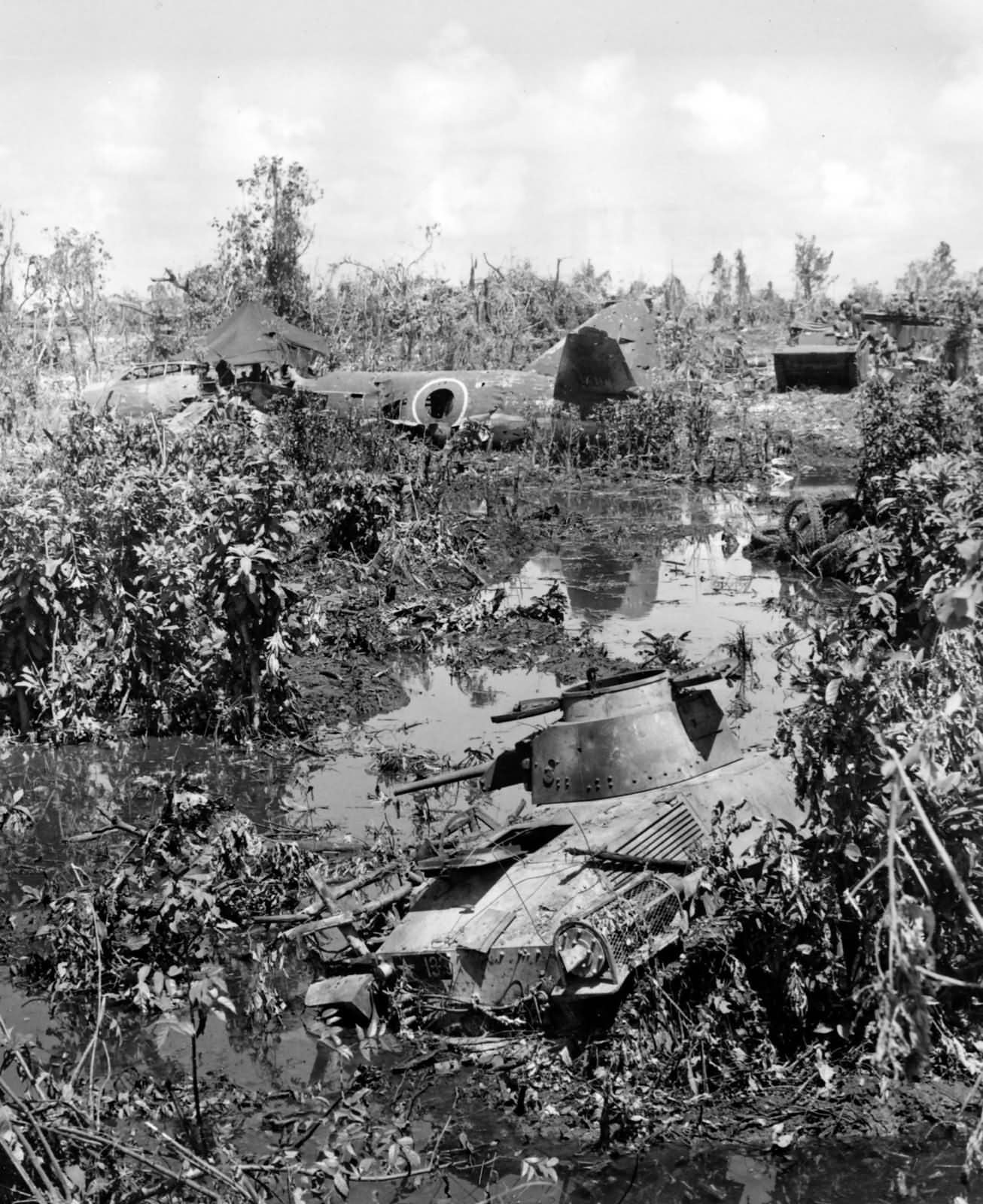 Mitsubishi G4M Betty and Type 95 Ha Go Light Tank wrecks