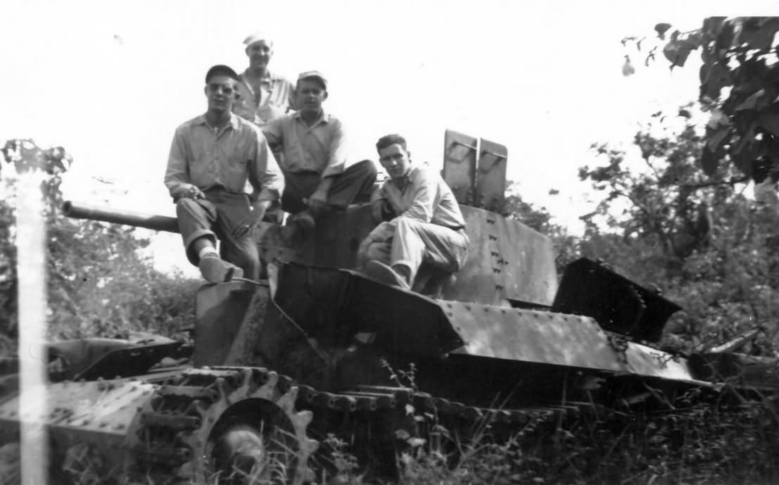Soldiers With Captured Japanese Type 97 Shinhoto Chi-Ha Tank