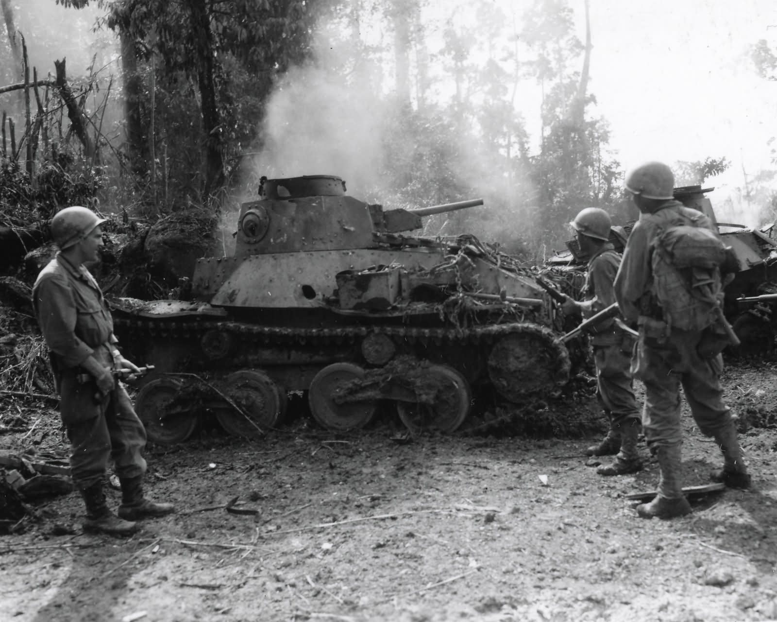 Type 95 Ha Go light tank knocked out by 32nd Infantry Division Leyte 1944