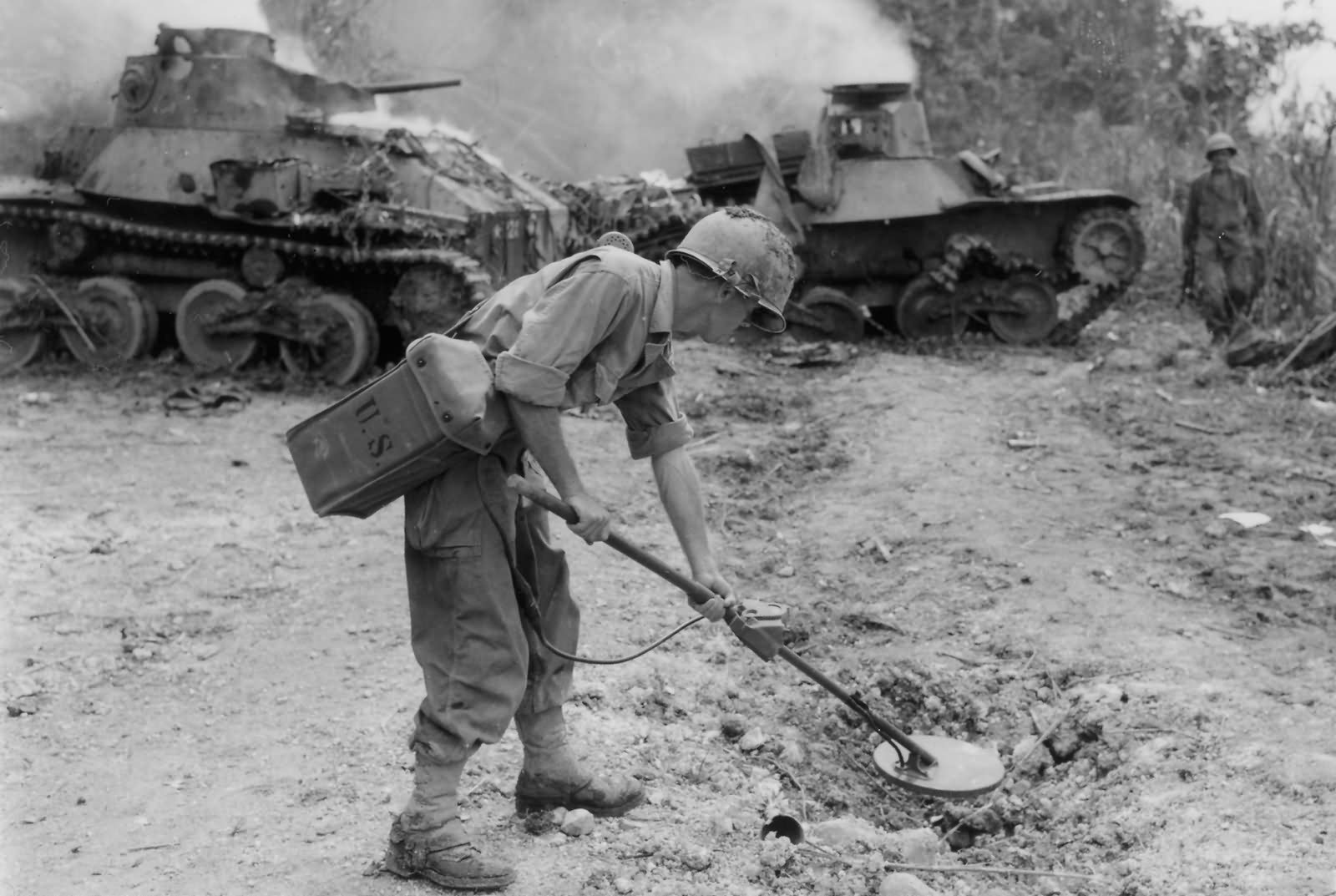 Type 95 Ha Go tanks and California National Guardsman Sweeps for Mines Leyte 1944