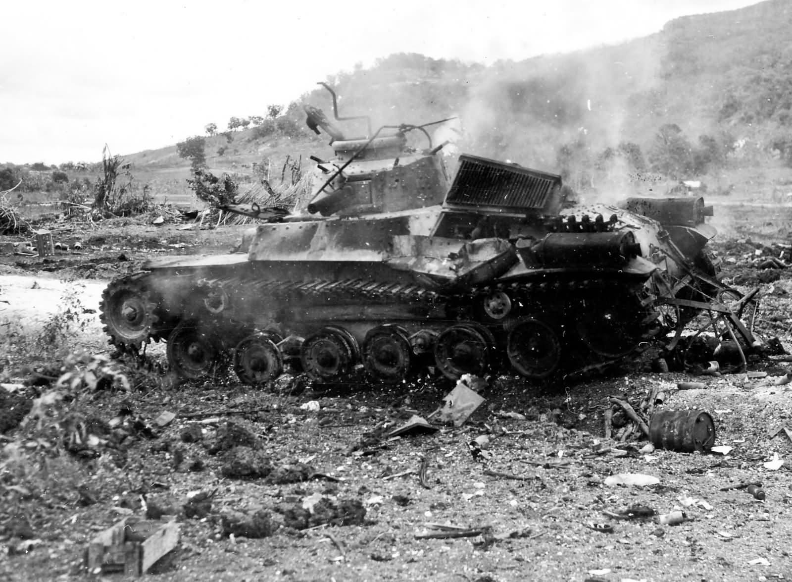 Type 97 Chi Ha tank Japanese 9th Tank Regiment Burning Saipan 1944