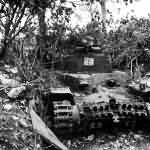 Chi Ha tank used as mobile pillbox Saipan July 1944