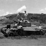 US Soldiers on Knocked Out Japanese Tank Type 97 Chi-Ha