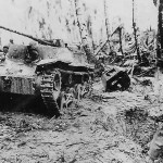 US Troops in Jungle with Knocked Out Japanese Tank Ha-Go