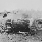 The charred remnants of a Japanese Type 97 Chi-Ha Tank