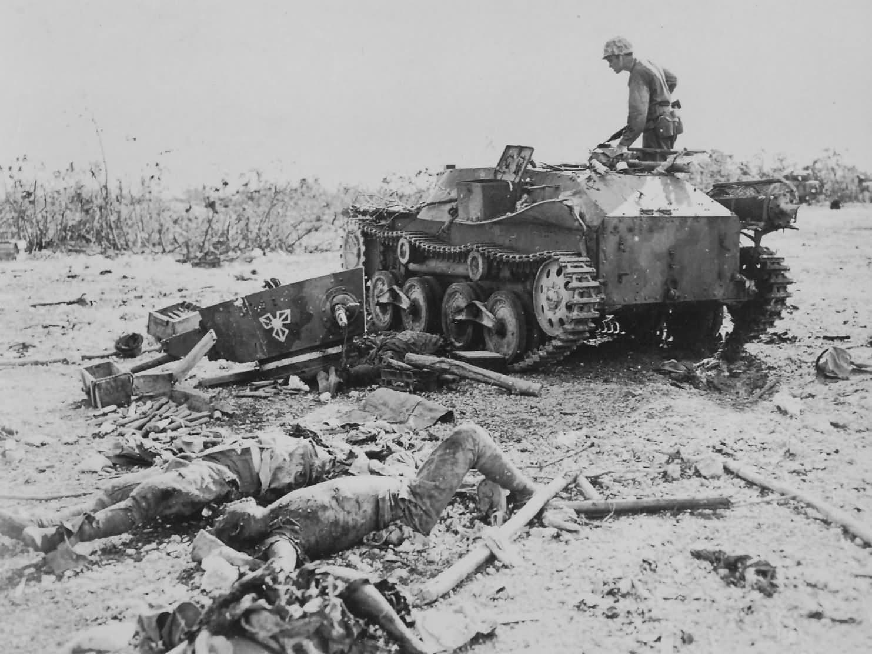 destroyed Japanese Type 95 Ha-Go tank