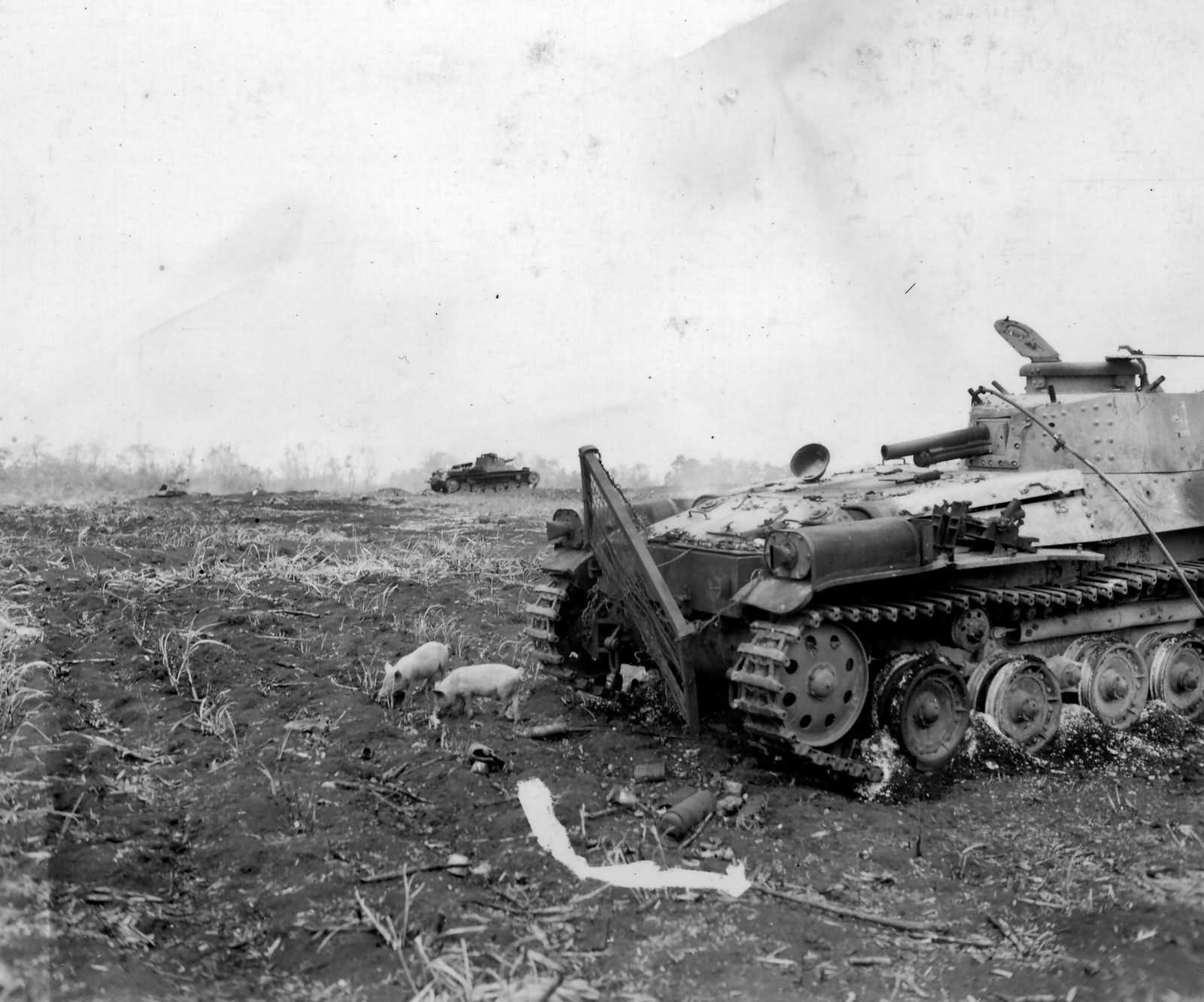 destroyed Type 97 Chi Ha tank from 9th Tank Regiment Saipan June 16 1944