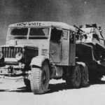 """Scammell Pioneer tank transporter named """"Snow White"""" with A9 tank 1941"""