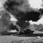 Churchill Crocodile Flame Thrower tank in action in France 1944