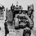 Churchill tank unloads from LCU England 1943
