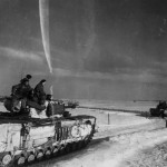 Churchill tanks move over the snow Birgden Waldenrath Germany