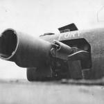 Close Up Petard 290 mm Mortar of Churchill AVRE tank named Fury 1944