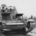 British Cruiser Tank A10 and German troops