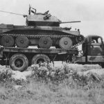 A13 tank loaded on an American White 920 18 ton 6×4 tank transporter, 1942