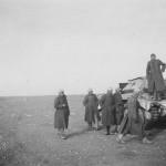 Captured Crusader tank and Afrika Korps soldiers