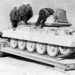 Crusader T15789 tank on german trailer