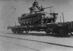 British infantry tank Matilda II on a railway flatcar