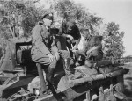 Wehrmacht soldiers and British infantry tank Matilda II