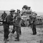 German Matilda A12 Mk II tank and German POW – North Africa