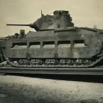 Infantry Tank Mk.II (A12) Matilda II on German low loader trailer