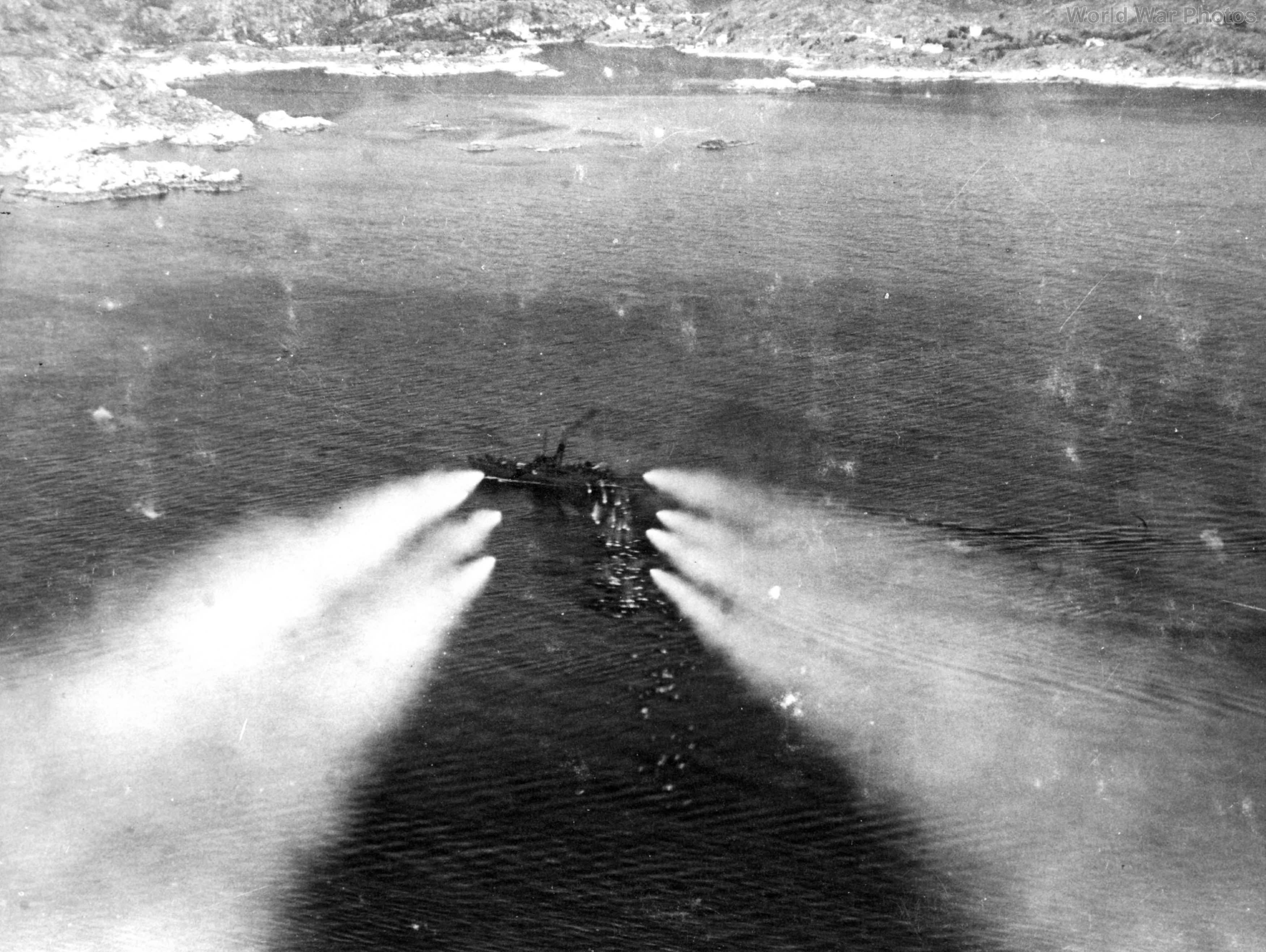 Beaufighter fires a salvo of rockets