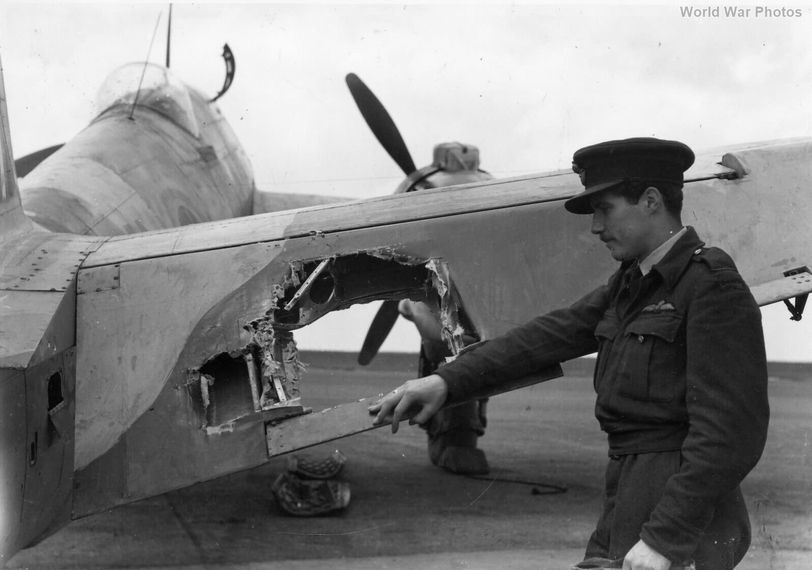 Beaufighter tail damaged by Flak