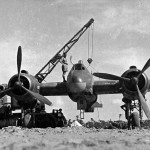 Beaufighter being serviced by RAF groundcrew Libya