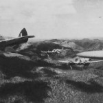 Beaufighters of the Royal Australian Air Force fly over the Finschhafen area