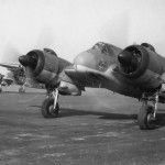 Bristol Beaufighter TF Mk X of No. 455 Squadron RAAF line up on the runway at Dallachy