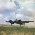 Bristol Beaufighter of No 252 Squadron with an F14 camera in its nose North West African airfield