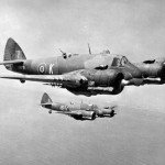 Bristol Beaufighters of No 272 Squadron RAF in flight over Malta – Mk VIC X8079 code 'K', behind Mk IC T5043 code 'V' 1943
