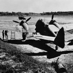 Damaged Bristol Beaufighter Mk VIF of No. 177 Squadron RAF parked in a dispersal at Feni India