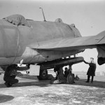No 144 Squadron Beaufighter Mk VI being fitted with an 18in Mk XV torpedo 25 April 1943