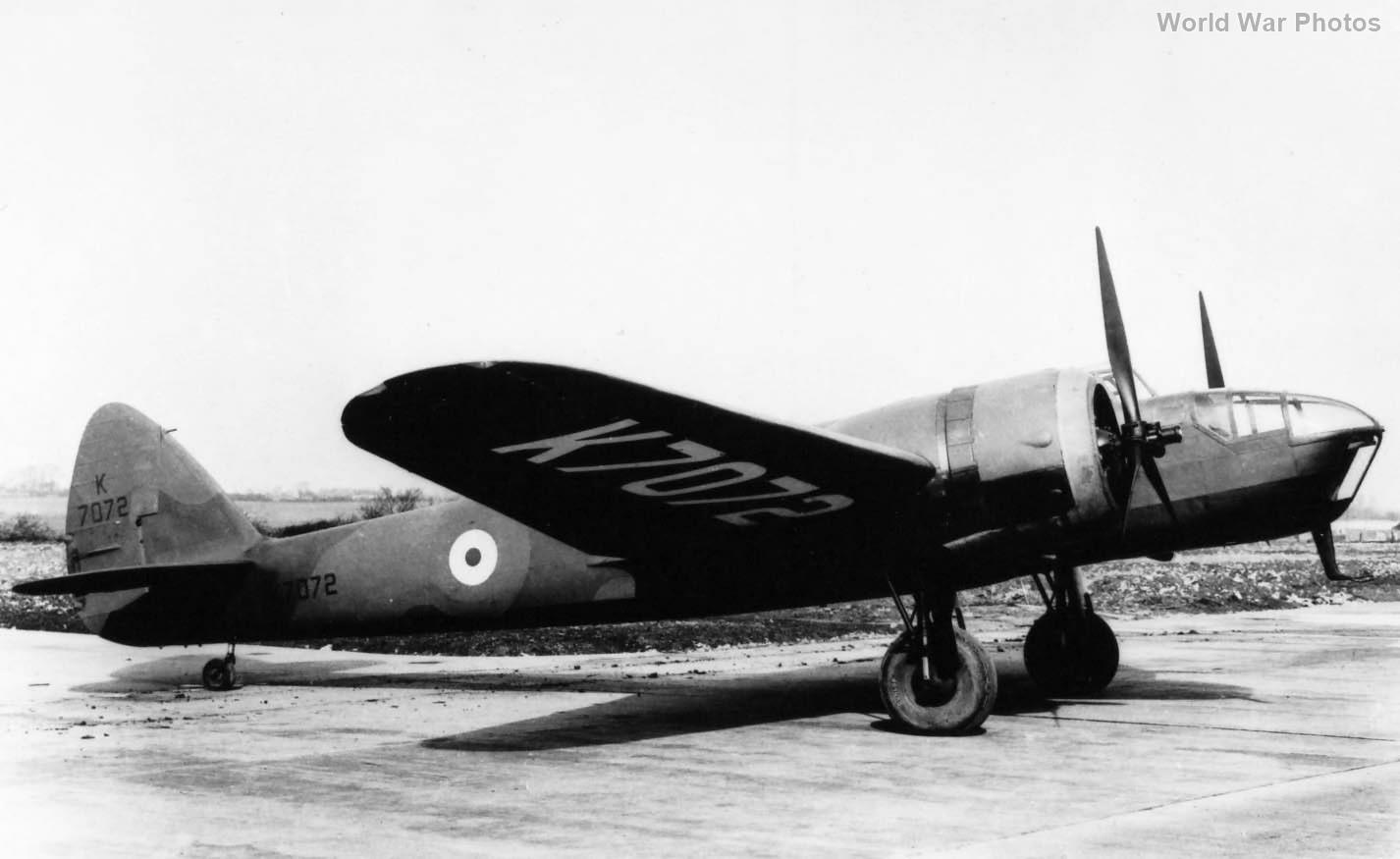 Bomber Blenheim IV K7072