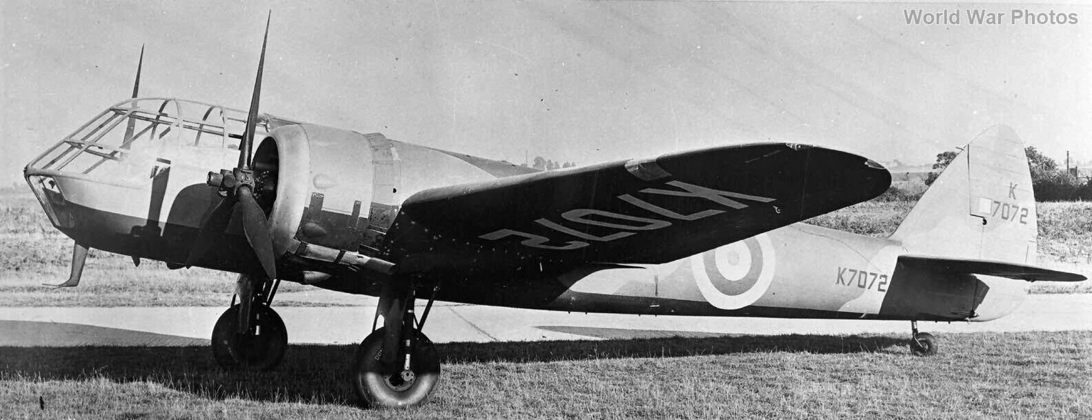 Blenheim I K7072 long nose trials as Bolingbroke37