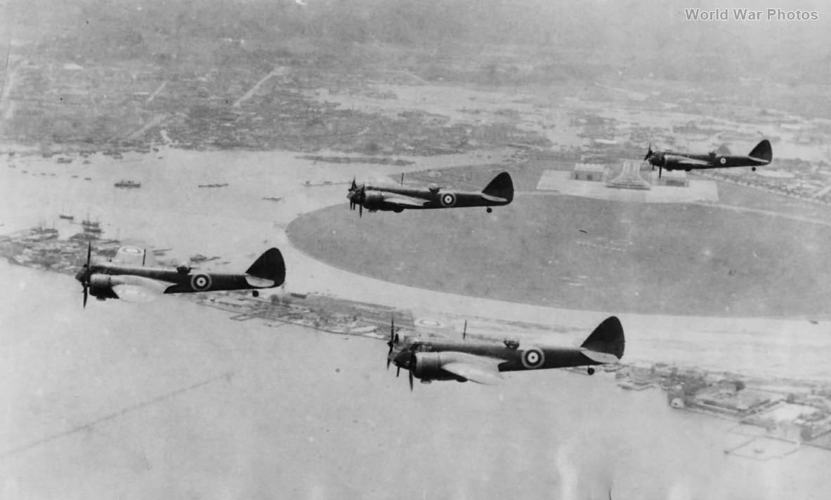 Blenheims Flying over Singapore Harbor