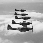 Fairey Battle light bombers of No. 63 Squadron in flight