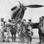 French and British Airmen Hold Conference by Fairey Battle Bomber