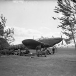 Ground crew working on a Battle of No. 218 Sqn at Auberive-sur-Suippes