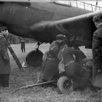 King George VI watching bombs being hand winched into the bomb bays of a Fairey Battle