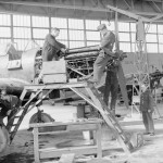 Mechanics of No. 226 Squadron RAF overhaul the engines of Battles at Reims