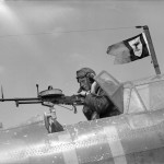 air gunner with .303 Vickers K type MG rear cockpit of a Fairey Battle of No 103 Sqn 1940