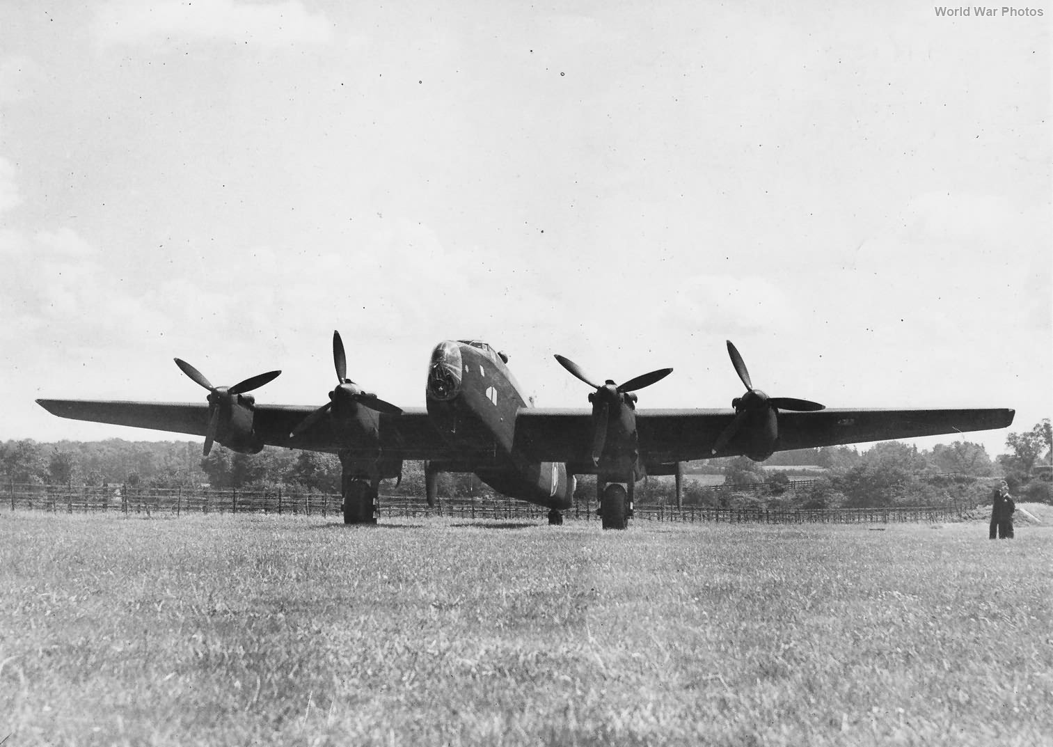 Halifax on grass airfield 1943