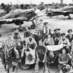 20 Squadron RAF pilots with Japanese Trophies by Hurricane Mk IID