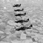 6 Hurricane Mk IIB of B Flight No 601 Squadron RAF based at Duxford